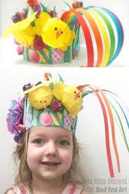 Paper Flower Hats Easy Spring Paper Easter Bonnet Craft For Kids Red Ted Art
