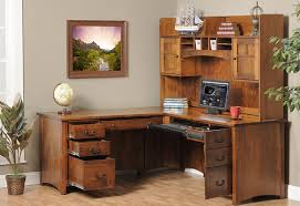 brown corner wood desk with shelves and drawers