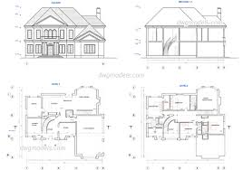 two story house plans dwg cad blocks free