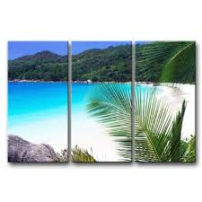 buy 3 panel blue wall art painting seychelles small beach blue water palm mountain prints on canvas the picture seascape pictures oil for home modern  on 3 panel wall art beach with buy 3 panel blue wall art painting seychelles small beach blue water