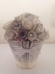 Folding Paper Flower Handmade Folded Book Art Bucket Vase And Selection Of Paper Flowers