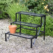 tiered iron plant stand. Plant Theatre Terrace Tier Metal Stand In Black Amazoncouk Garden Outdoors With Tiered Iron Amazon UK