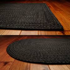 black ultra durable braided rugs in oval and rectangle option shapes for floor decor ideas cape