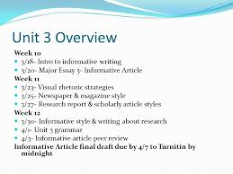 unit overview week intro to informative writing  1 unit