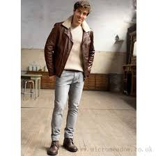 mens aged blouson leather jacket with detachable collar grey