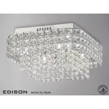 edison square 4 light ceiling fitting in polished chrome and crystal