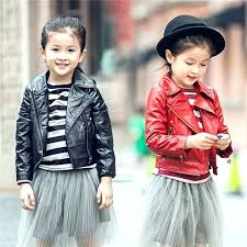 red leather jacket kids toddler girl jackets girls whole winter coats turn down collar with fur