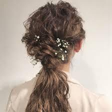 結婚式お呼ばれアレンジ かすみ草と ヘアアレンジヘアセット
