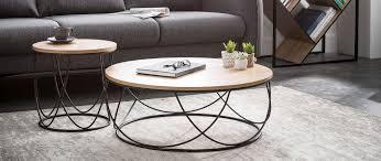 Table basse bois et métal noir ronde 80 cm LACE - Miliboo
