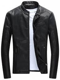 fancy full zip casual pu leather jacket black xl
