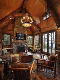 Lovely Furniture for Log Cabin Bedroom Using Modern Ceiling Fan