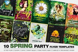 Green Party Flyer Spring Break Flyer Templates Bundle To Customize With Photoshop