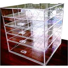 cq acrylic large 5 drawers and 11 grids acrylic makeup organizer 10 x10 x11