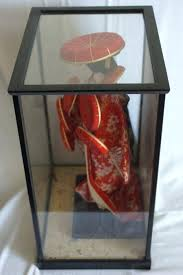 not signed lacquer doll of geisha in display case fabric and glass cabinet romantic cases for barbie doll display case