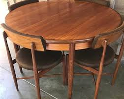 Mid century modern kitchen table Expandable Midcentury Modern Gplan Fresco Dining Table And Chairs Etsy Mid Century Dining Table Etsy
