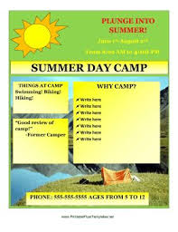 Summer Camp Template Word Rome Fontanacountryinn Com