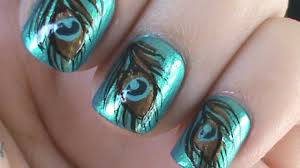 Peacock Feather Nail Art - YouTube