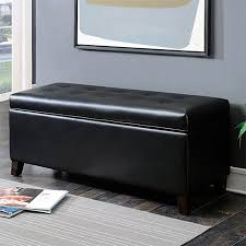 shoe storage ottoman bench. Black LeatherInfused Fabric Contemporary Button Tufted Shoe Storage Ottoman Bench On