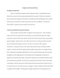 cover letter template for comparison and contrast essay example  gallery of example of compare contrast essay