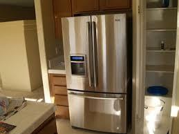 french door refrigerator in kitchen. Standard Depth French Door Fridge Occupies Valuable Aisle Space Refrigerator In Kitchen N
