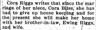 Cora Riggs and brother-in-law, Ewing Riggs, and niece, Cora Bliss. -  Newspapers.com