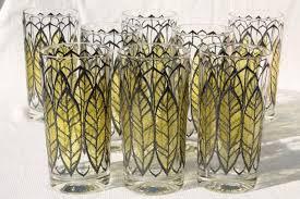 mod vintage green leaf print glass tumblers libbey briard culver drinking glasses