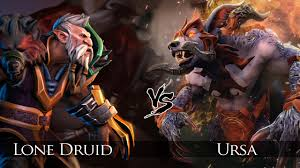 dota 2 lone druid vs ursa one click battle rematch youtube