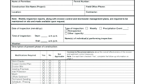 Vehicle Inspection Form Template Inspirational Site Report Sample