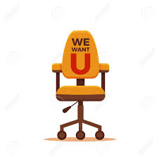 office chair icon. Office Chair With We Need You Message Colorful Flat Concept. Vector Illustration Of Business Icon 7