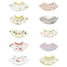 Baby Cotton Cartoon Print Waterproof Round Collar Saliva ...