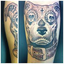 Day Of The Dead Pitbull Tattoos By Me Tattoos Skull Tattoos