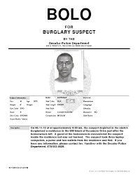 Bolo Template Decatur Police Looking For Sycamore Burglary Suspect