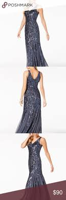 Nightway Blue <b>Sequined Mesh</b> Gown 8P | <b>Mesh</b> gown, Gowns ...