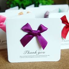 Details About 1 10pcs Ribbon Bowknot Thank You Greeting Cards Folding Gift Cards Invitations