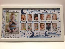 Babys First Year Frame Space Moon And Stars Nursery Decor A Picture A Month First Birthday New Baby Birth Info Custom