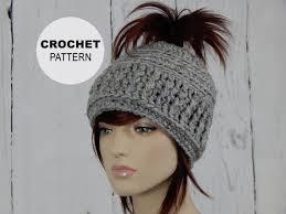 Ponytail Beanie Crochet Pattern Delectable Crochet PATTERN PDF The Messy Bun Hat Open Top Hat Ponytail Etsy