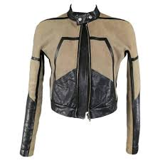 rick owens 42 taupe black distressed suede leather motorcycle jacket