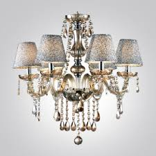 silver mist bell shades gorgeous amber crystal 5 light warm and charming chandelier