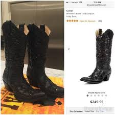 Corral Size Chart Corral Womens Size 7 Black Sequin Inlay Boot Nwt