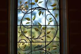 contemporary stained glass vine and branches window detail cain art glass 2016 all rights