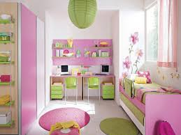 Pink And Green Walls In A Bedroom Pink White Wooden Wardrobe And Pink Green Bed On The Floor Added