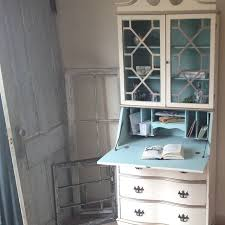 hand made vintage secretary hutch cabinet desk small painted distressed by vintage hip decor distressed painted furniture custommade com