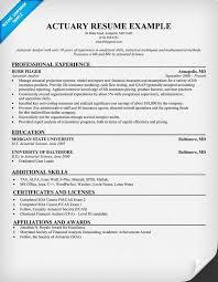 sample actuarial resumes