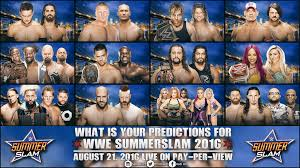 wwe summerslam 2016 match card predictions by hadiali