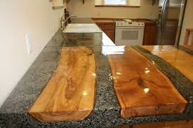 concrete countertop with inlaid wood logs