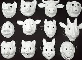 Plastic Masks To Decorate 60 Assorted White Plastic Animal Masks To Decorate Mask Making 4