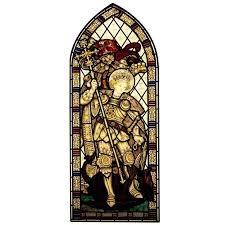 st george and the dragon hand painted stained glass window for