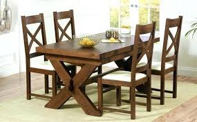 dark wood dining table set 4 sets 6 solid chairs round extension tabl