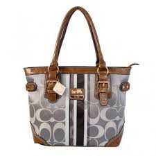 Newest Coach In Signature Medium Grey Totes BEY