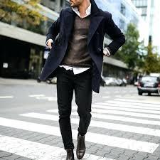mens black pea coat overcoat street style